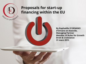 Proposals for start-up financing 18 mai 2015