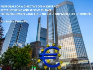 Proposal for a Directive on Insolvency, Restructuring and Second Chance Potential on NPLs and the « no creditor worst off » principle