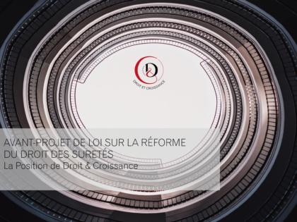 Note a/s de l'avant-projet de loi sur la réforme du droit des sûretés