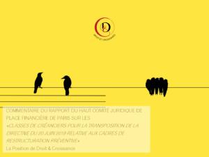 Commentaire du rapport du Haut Comité Juridique de Place Financière de Paris sur les « classes de créanciers pour la transposition de la directive du 20 juin 2019 relative aux cadres de restructuration préventive »