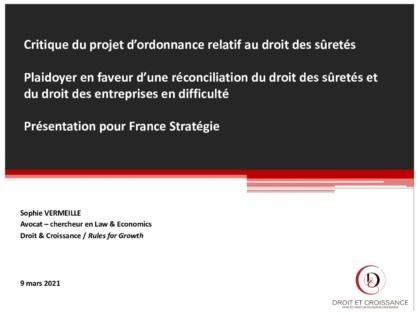 Presentation to France Stratégie on Secured Financing